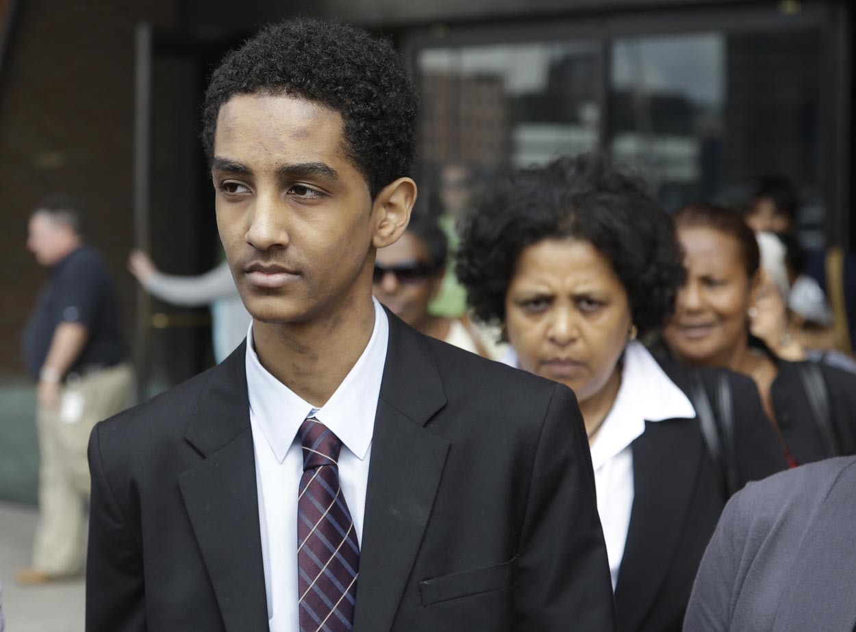 Robel Phillipos leaves federal court Friday, Sept. 13, 2013, in Boston.