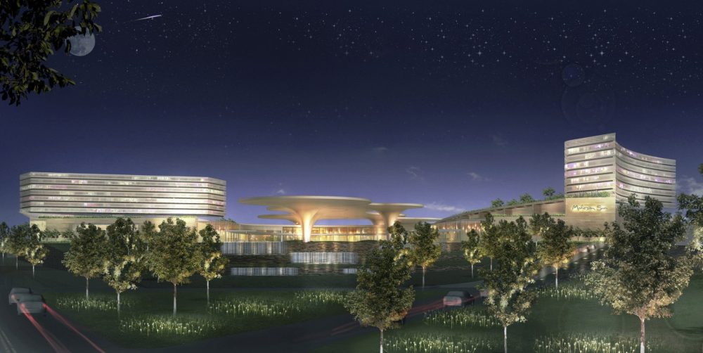 A conceptual design of a proposed casino development by Mohegan Sun. (Suffolk Downs/AP)