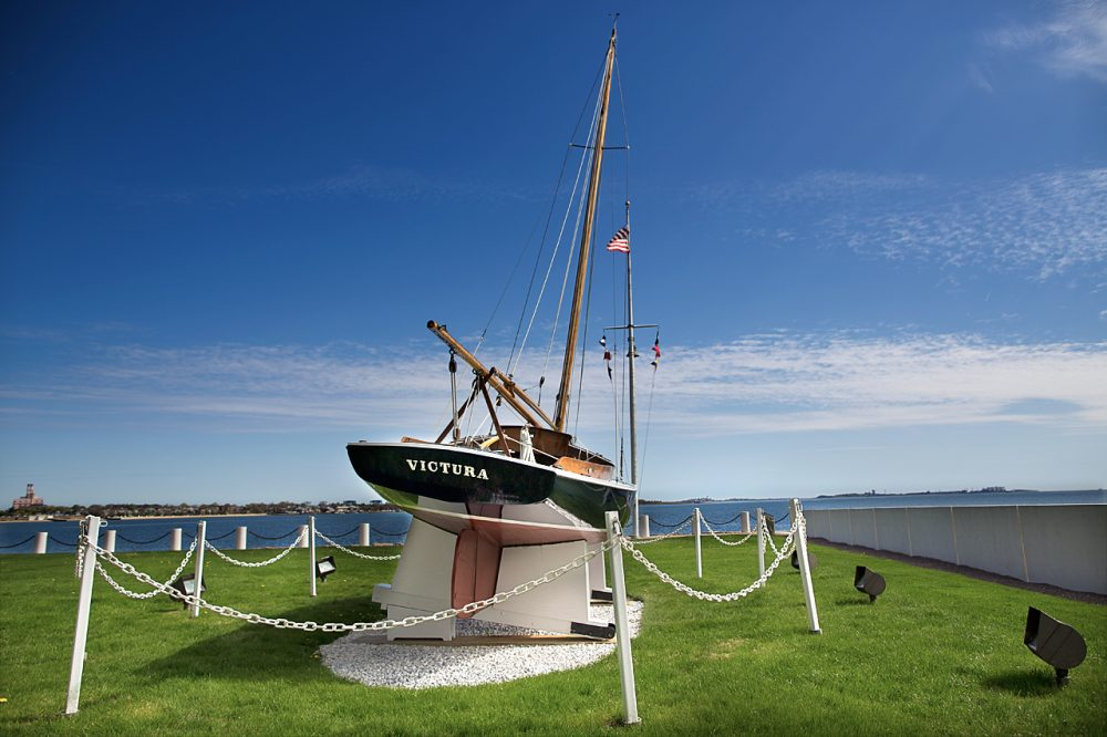 President Kennedy's sailboat Victura will be on display at the John F. Kennedy Presidential Library and Museum from May to October. (Jesse Costa/WBUR)