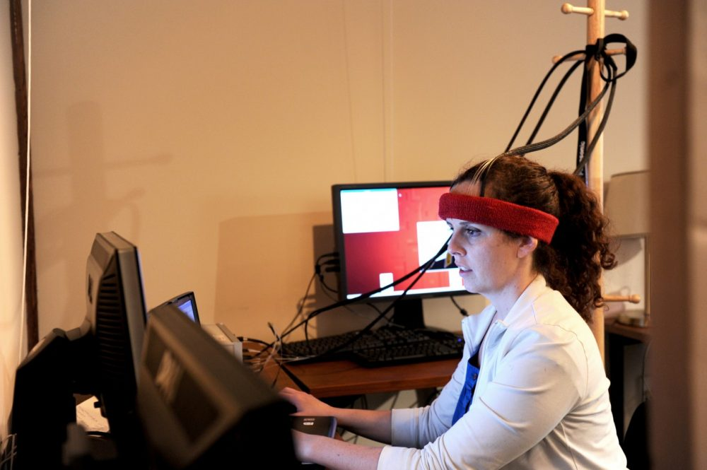 Tufts researchers working with the headband. (Courtesy Tufts Human-Computer Interaction Lab)