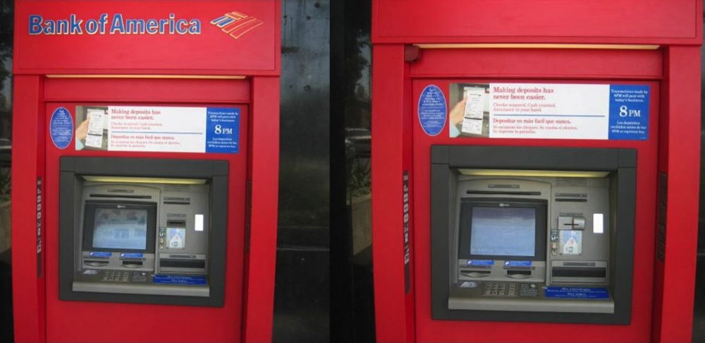 The ATM pictured on the right below is shown with the card skimmer and video camera (upper left) attached. Click the image for a slightly larger look. (Courtesy Krebs on Security)