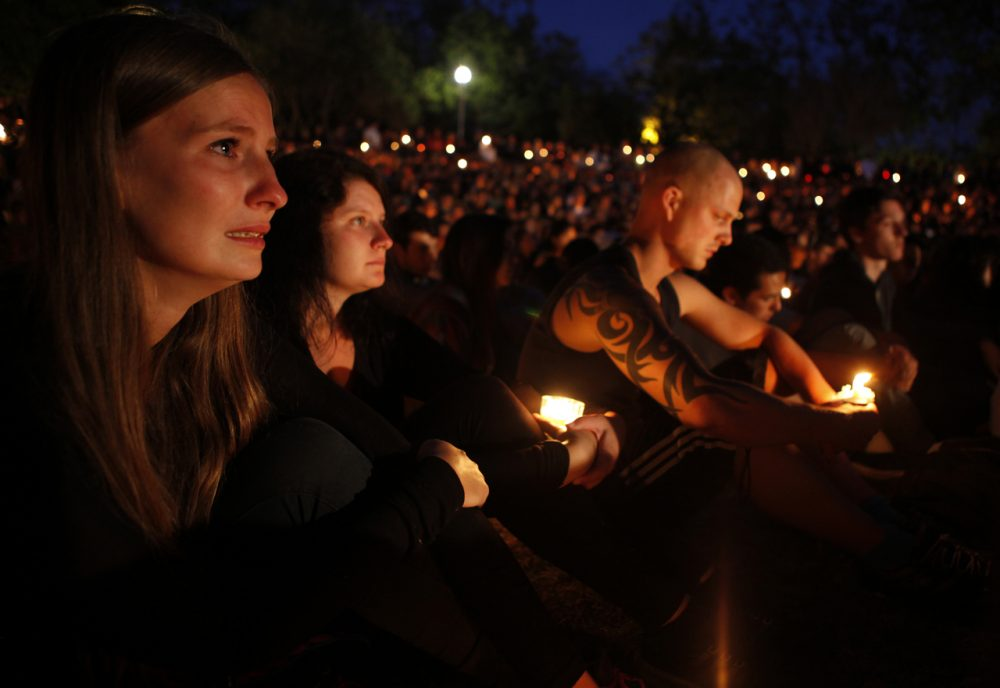 Students gather on the UC Santa Barbara campus for a candlelight vigil for those affected by the mass killing in Isla Vista on May 24, 2014 in Santa Barbara, California. A national conversation brewed around the event about whether police could have done more to keep a gun out of the hands of gunman Elliot Rodger, a mentally disturbed 22-year-old man, who fatally shot himself after the rampage. (Spencer Weiner/Getty Images)