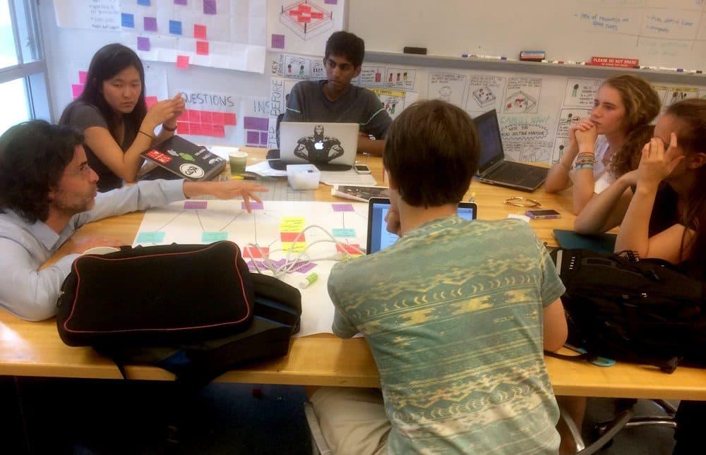 Associate Professor Benjamin Linder teaches User-Oriented Collaborative Design at Olin College. (Fred Thys/WBUR)