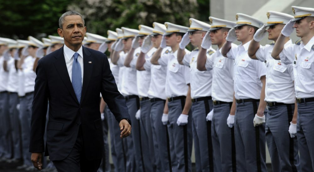 """President Barack Obama arrives to deliver the commencement address to the U.S. Military Academy at West Point, Wednesday, May 28, 2014. In a broad defense of his foreign policy, the president declared that the U.S. remains the world's most indispensable nation, even after a """"long season of war,"""" but argued for restraint before embarking on more military adventures. (Susan Walsh/AP)"""