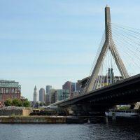 The Leonard P. Zakim Bunker Hill Memorial Bridge, reaching across the Charles River, Boston. (Robin Lubbock/WBUR)