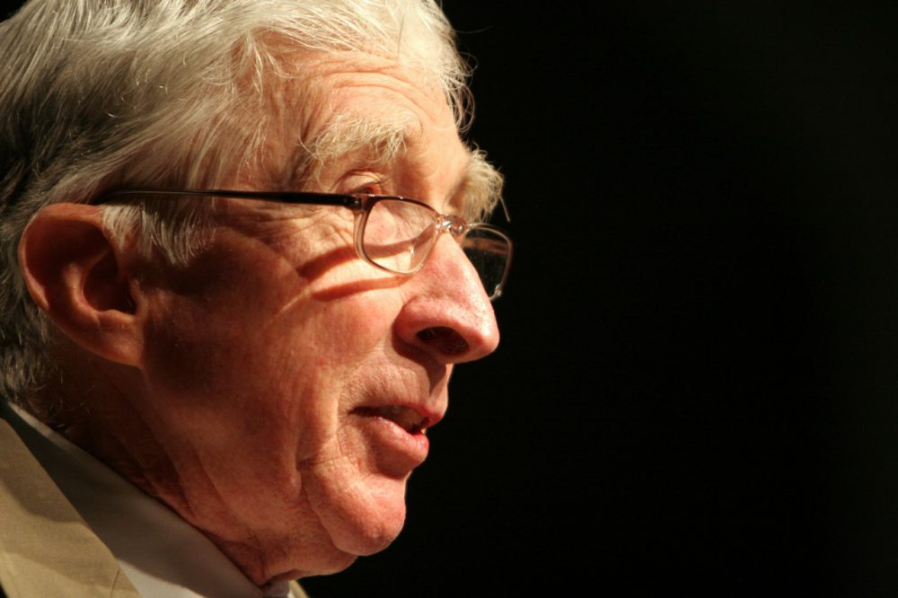 "Author John Updike speaks at BookExpo America 2006 at the Washington Convention Center in Washington, Saturday, May 20, 2006. Updike recently released his novel ""Terrorist."" (AP)"