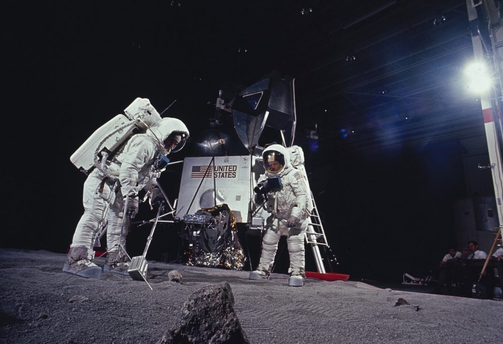 In this 1969 file photo, astronauts Edwin E. Aldrin and Neil Armstrong rehearse tasks they will perform on the moon after landing in July 1969 during the Apollo 11 mission.  (AP)