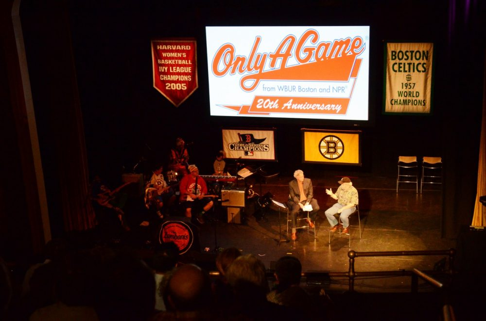 Charlie Pierce joined Bill on stage for the final conversation of Only A Game's 20th anniversary live show. (Robin Lubbock/WBUR)