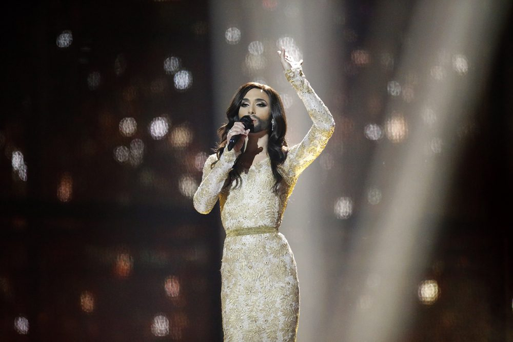 Singer Conchita Wurst representing Austria performs the song 'Rise Like a Phoenix' during the final of the Eurovision Song Contest in the B&W Halls in Copenhagen, Denmark, Saturday, May 10, 2014. (AP)