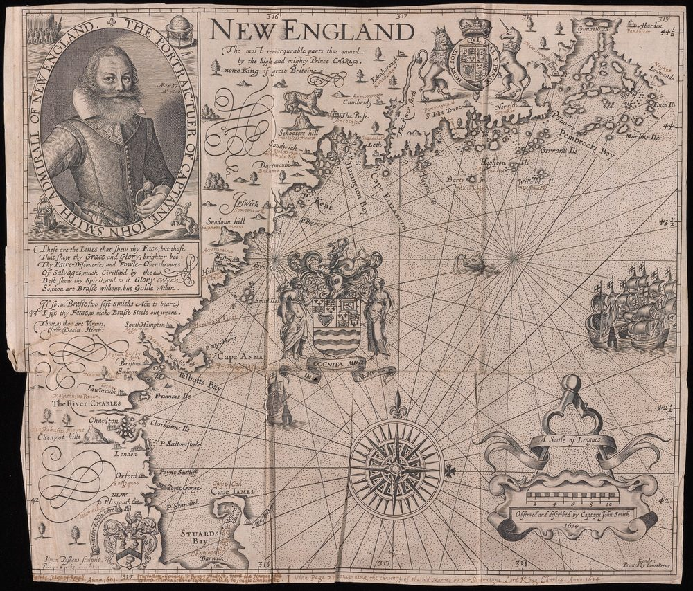 "Map of New England by John Smith, from ""Advertisements for the Un-experienced Planters of New England. London, 1631. Dealer E Forbes Smiley was caught stealing this map in 2005. (Courtesy of Beinecke Rare Book & Manuscript Library)"