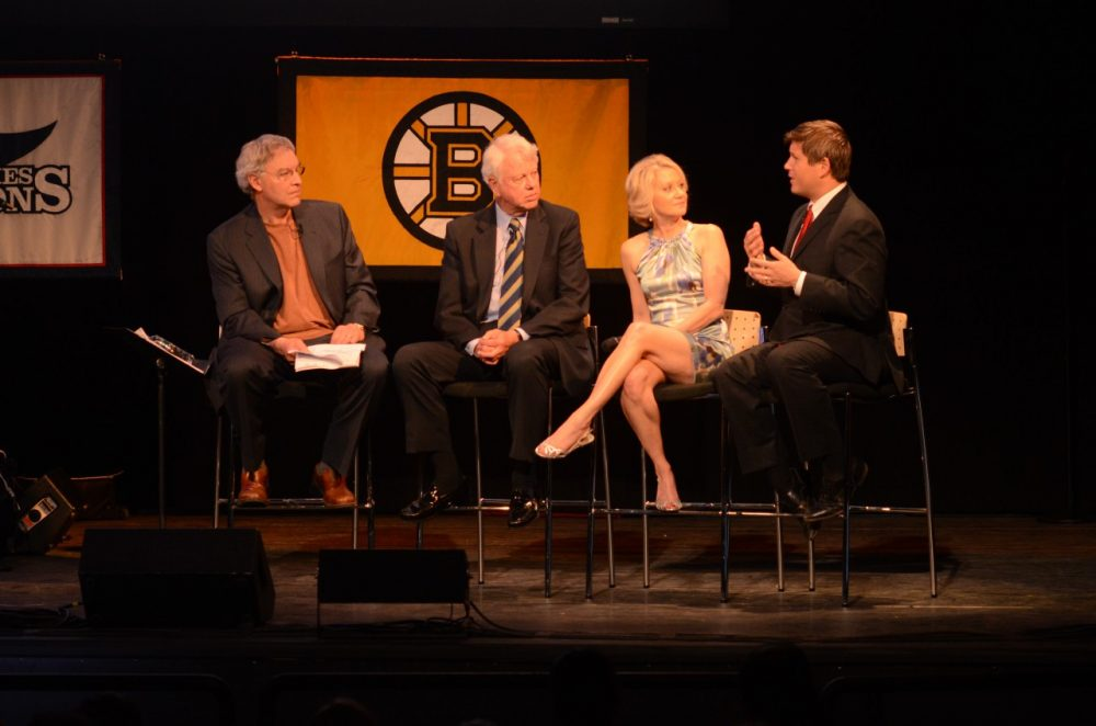 Bill Littlefield was joined (from left to right) by Bob Ryan, Andrea Kremer and Will Leitch. (Robin Lubbock/WBUR)