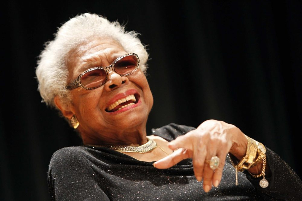 Maya Angelou answers questions at her portrait unveiling at the Smithsonian's National Portrait Gallery on Saturday, April 5, 2014 in Washington, DC.  She passed away on May 28, 2014 at age 86. (AP)