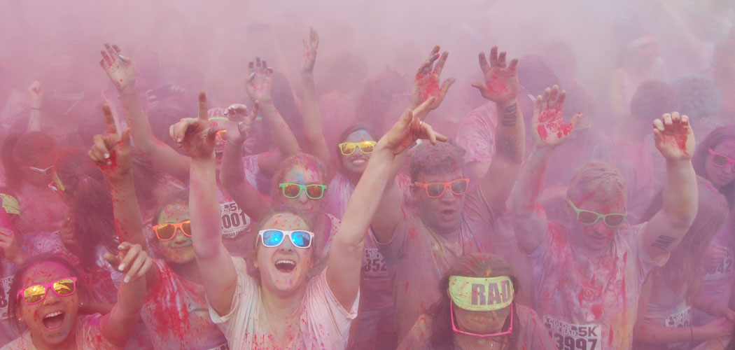 The dance party at the end of the Color Me Rad 5K run. (Greg Cook)