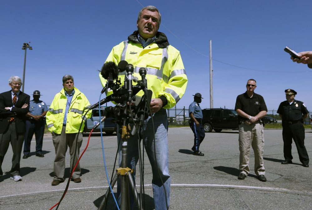 Director of aviation for the Massachusetts Port Authority Ed Freni speaks during a news conference at Hanscom Field in Bedford, Mass., Sunday, June 1, 2014. A Gulfstream IV crashed as it was leaving Hanscom Field at about 9:40 p.m. Saturday for Atlantic City, N.J. There were no survivors. Philadelphia Inquirer co-owner Lewis Katz was killed along with six other people in the crash. (Michael Dwyer/AP)
