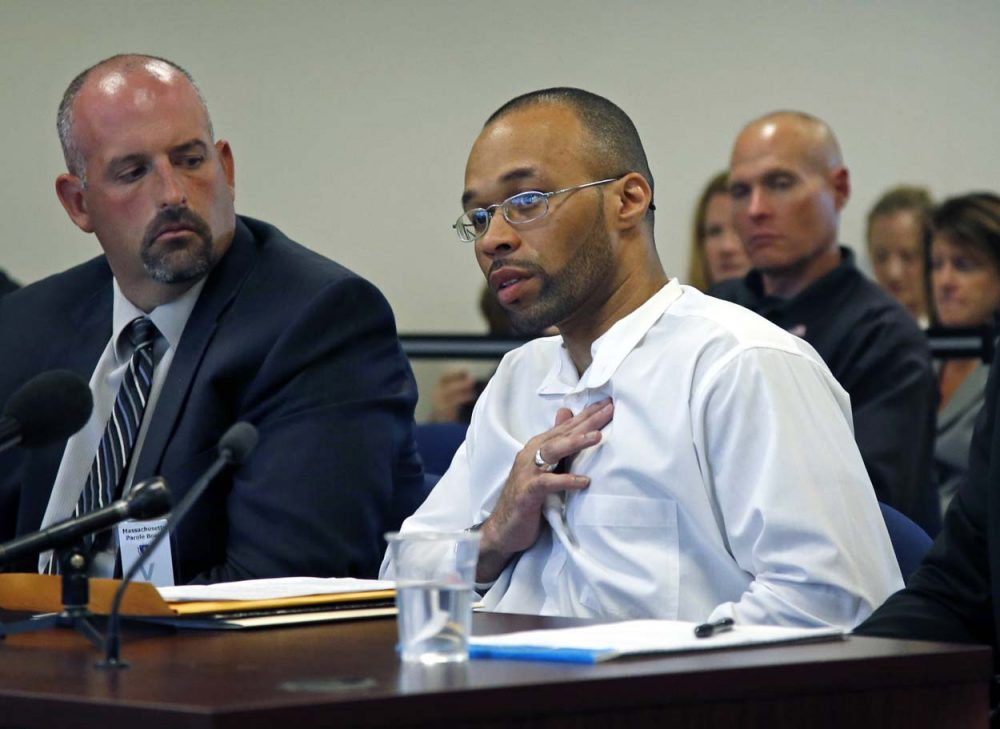 Frederick Christian speaks on his own behalf during a hearing before the state's parole board in Natick last month. (Elise Amendola/AP)