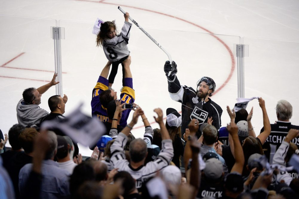 during Game One of the 2014 NHL Stanley Cup Final at the Staples Center on June 4, 2014 in Los Angeles, California.