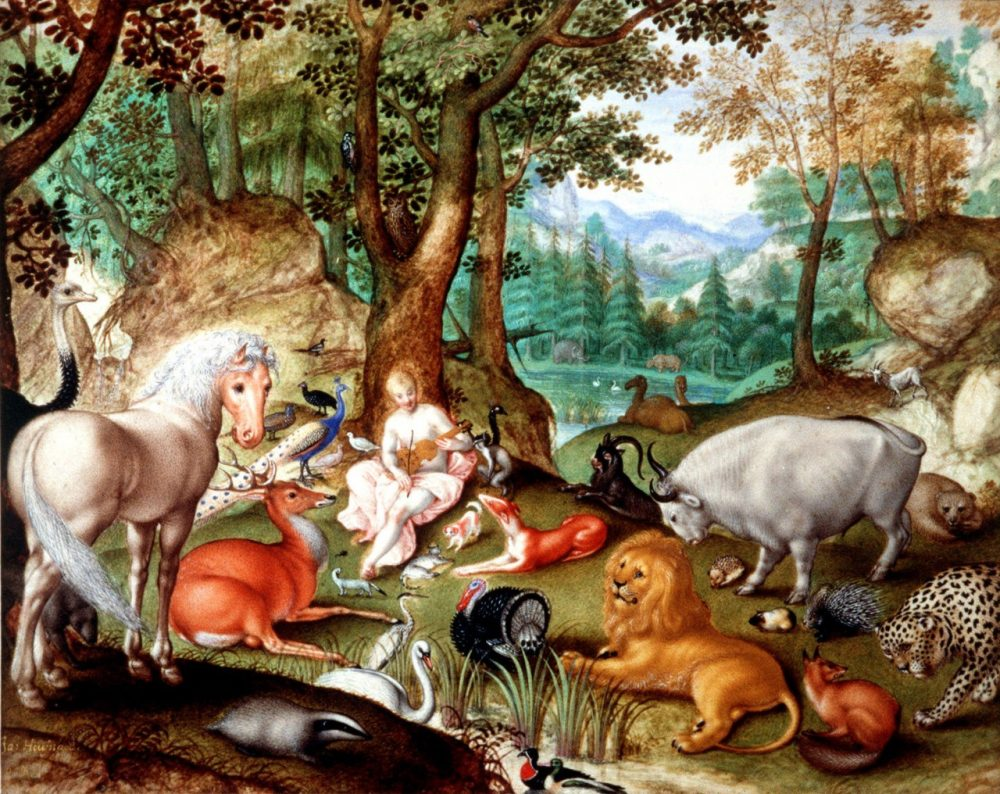 """Jacob Hoefnagel's 1613 painting, """"Orpheus and the Animals,"""" shows a serene Greek god seducing wild animals with his music. (AP)"""