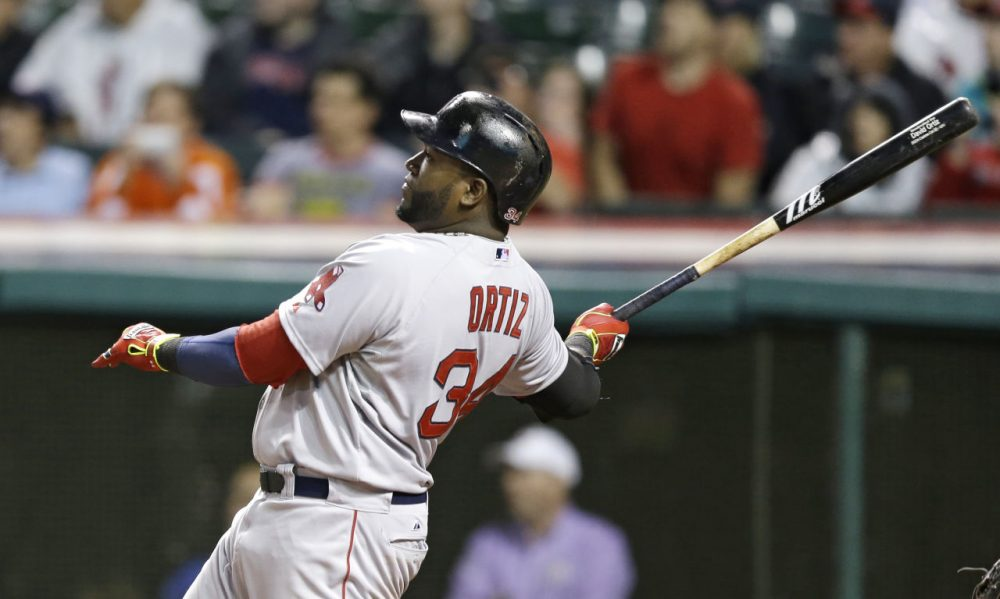Boston Red Sox's David Ortiz watches his ball after hitting a two-run home run off Cleveland Indians starting pitcher Corey Kluber in the sixth inning. (AP/Tony Dejak)