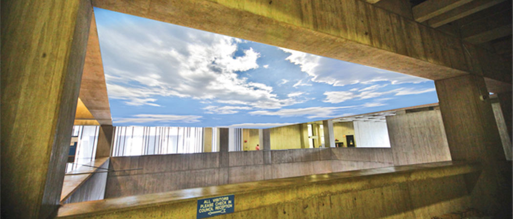 """Lobby Sky"" will include a 55 foot by 41 foot mural of the sky stretched over the ceiling of City Hall's lobby. (City of Boston)"