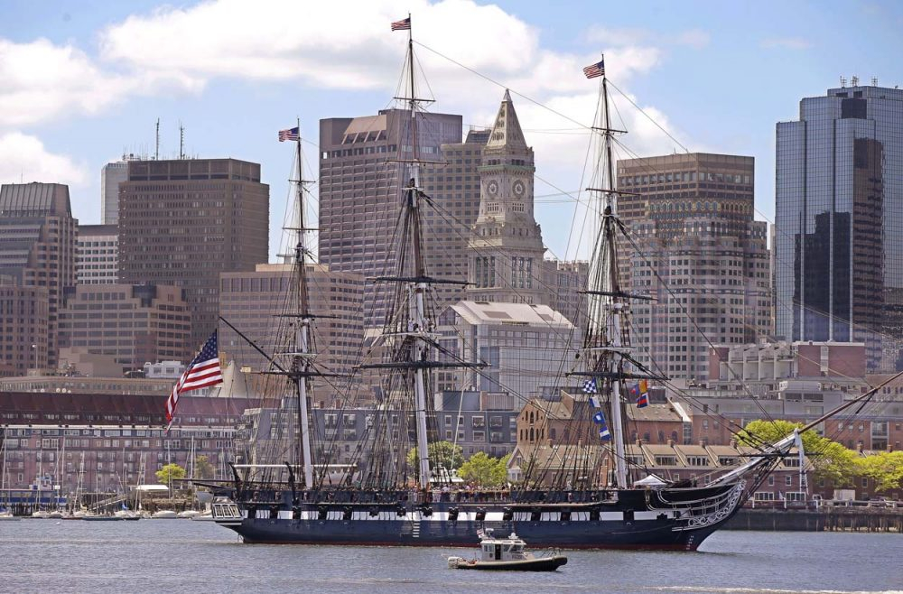 The USS Constitution sailed to Castle Island to fire a 21-gun cannon salute to Fort Independence in honor of the 70th anniversary of D-Day Friday in Boston. (Stephan Savoia/AP)