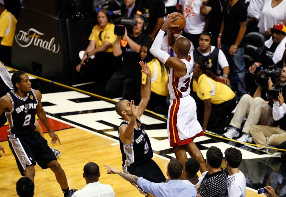 During the 2013 NBA Finals, Ray Allen drilled a three-pointer to save the Heat's season in Game 6. Chances are this won't happen again this year. (Kevin C. Cox/Getty Images)
