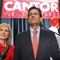 The House majority leader was felled in his Republican primary this week. And the Grand Old Party sees more clouds ahead. In this photo, Cantor, R-Va., delivers his concession speech as his wife, Diana, listens in Richmond, Va., Tuesday, June 10, 2014. Cantor lost in the GOP primary to tea party candidate Dave Brat. (Steve Helber/AP)