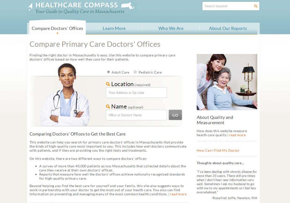 A screenshot of MHQP's new Healthcare Compass website.
