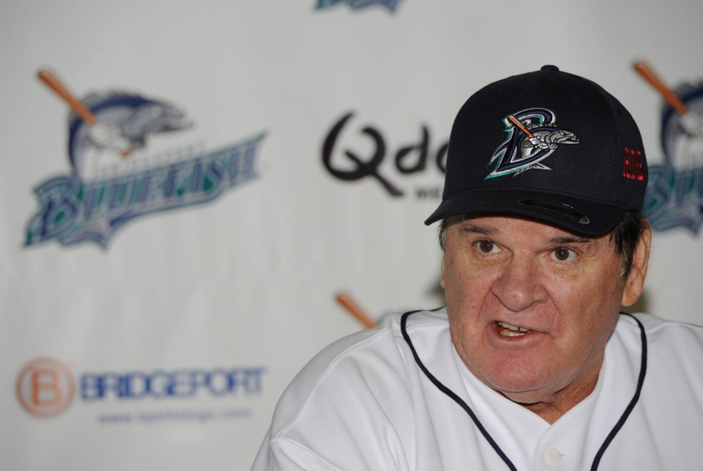 Pete Rose, owner of Major League Baseball's all-time hits record, managed the Bridgeport (Conn.) Bluefish of the Atlantic League for a day. The league is not affiliated with MLB. (Christopher Pasatieri/Getty Images)