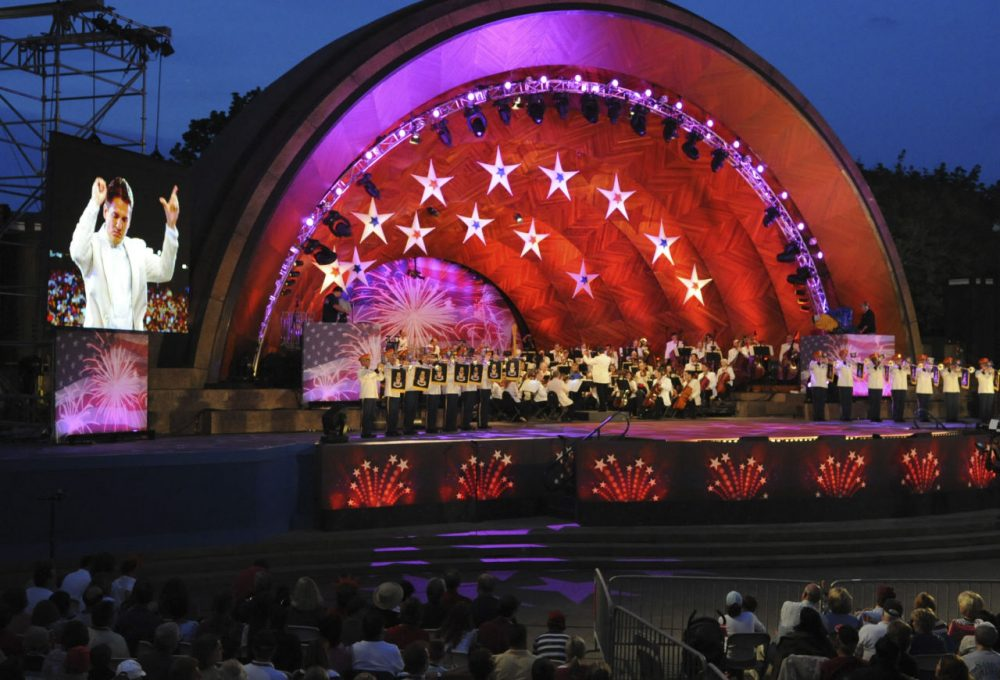 Keith Lockhart conducts the Boston Pops as the US Army Herald Trumpets perform on the Esplanade, in 2009. (Lisa Poole/AP)