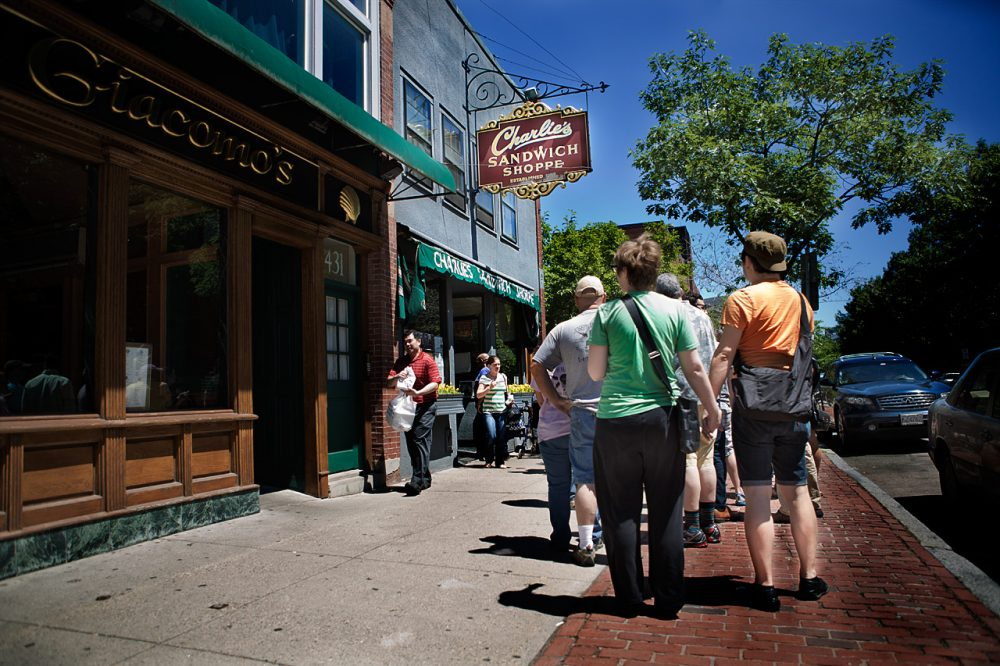 A line forms outside of the family run Charlie's Sandwich Shoppe will be closing this Saturday after being in business since 1929. (Jesse Costa/WBUR)