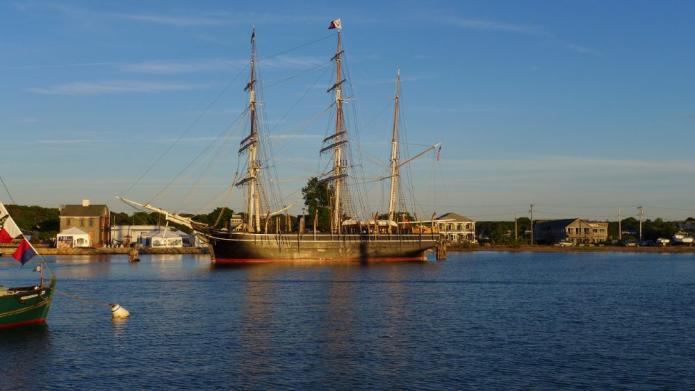 The Charles W. Morgan in Vineyard Haven Harbor. (Sam Fleming/WBUR)