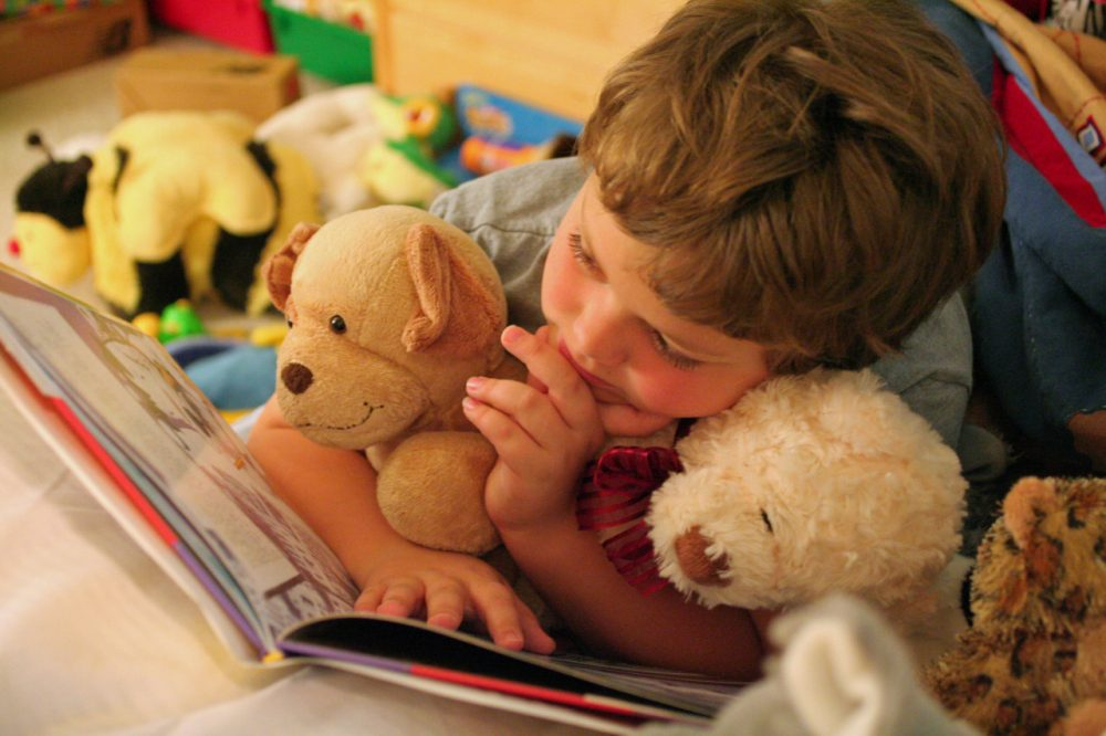 A young child reading with his stuffed animals. New research suggests dyslexia can be detected before a child starts learning to read. (Photo: John Morgan/flickr)