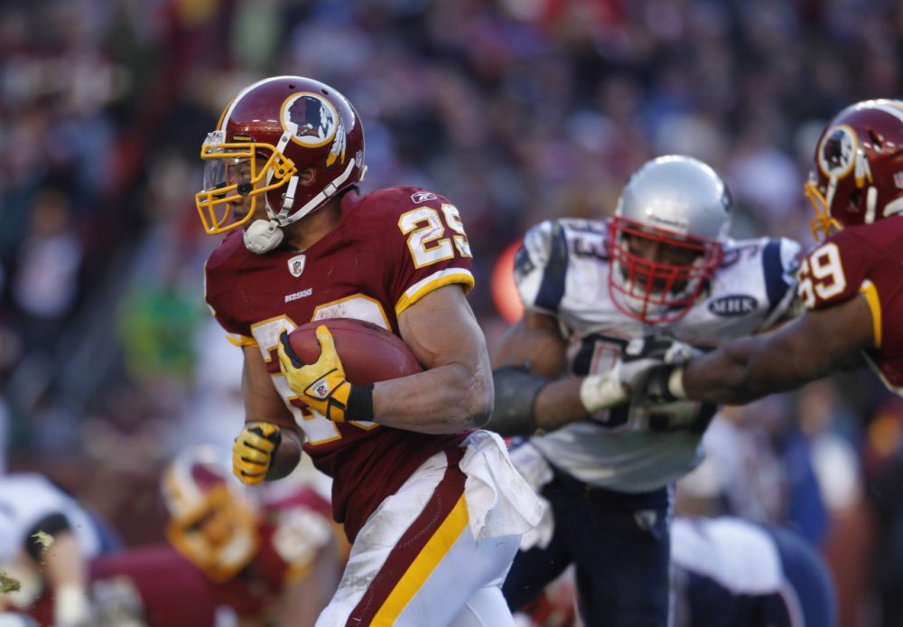 Washington Redskins running back Roy Helu (29) during the second half of an NFL football game against the New England Patriots on Sunday, Dec. 11, 2011 in Landover, Md. (AP)