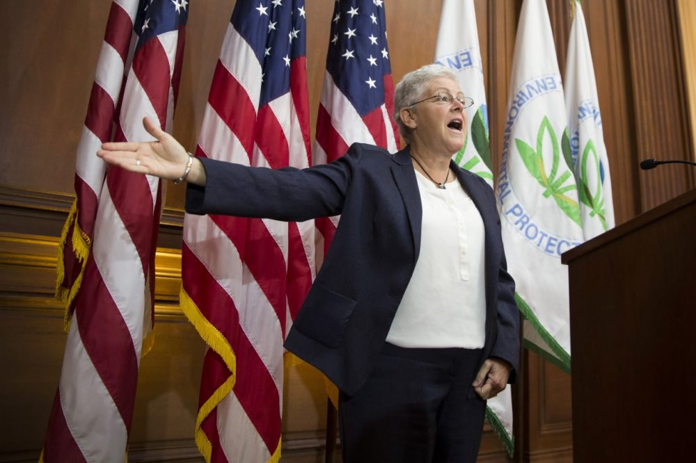 EPA Administrator Gina McCarthy gestures after signing new emission guidelines during an announcement of a plan to cut carbon dioxide emissions. (Evan Vucci/AP)