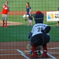 FeRROUS, a truly ugly bipedal pig, and his female counterpart FeFe preside over the pre-game celebrations. (Karen Given/Only A Game)