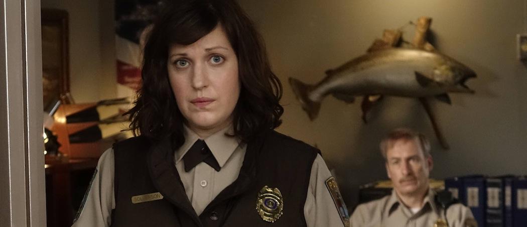 "Allison Tolman as Molly Solverson and Bob Odenkirk as Bill Oswalt in the season finale of ""Fargo."" (Chris Large/FX)"