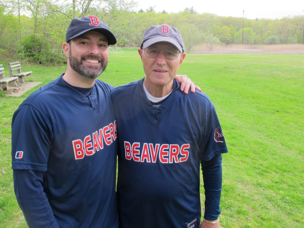 """Matt Englander and his father Morris """"Mo"""" Englander compete together in a slow-pitch softball league in Boston. (Bill Littlefield/Only A Game)"""