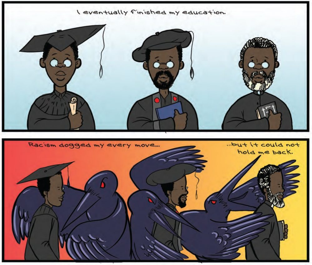 One of the stories in <em>Strange Fruit</em> is of Noyes Academy, an integrated school in Canaan, N.H., that was destroyed in 1835. Here, the comic panels depict one of the school's former students getting an education despite racism surrounding him at the time. (Courtesy of Joel Christian Gill, author and illustrator of <em>Strange Fruit: Uncelebrated Narratives from Black History</em>)