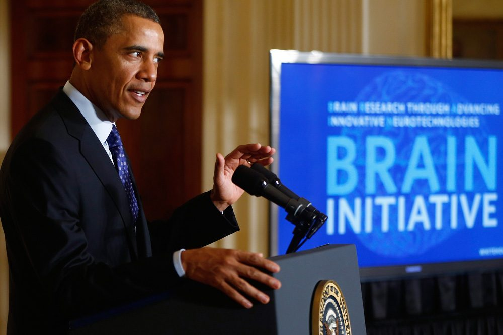 """We still haven't unlocked the mystery of the three pounds of matter between our ears. That knowledge could be -- will be -- transformative,"" President Obama said in announcing the BRAIN (Brain Research through Advancing Innovative Neurotechnologies) Initiative on April 2, 2013, at the White House. (Charles Dharapak/AP)"