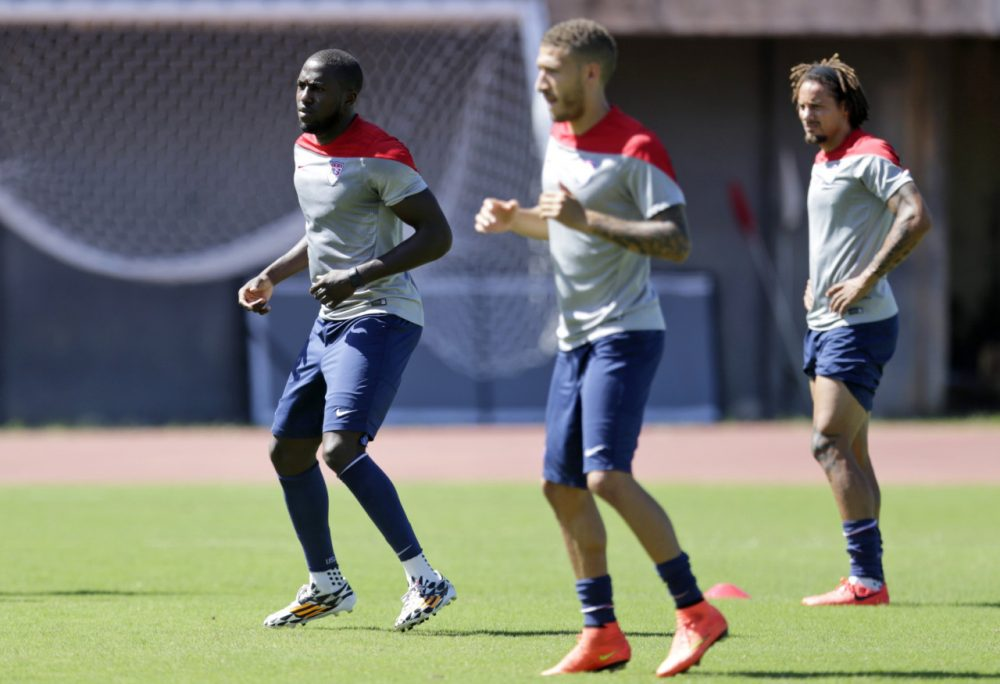 United States' Jozy Altidore, Fabian Johnson and Jermaine Jones work out during a training session Monday, June 30. (Julio Cortez/AP)