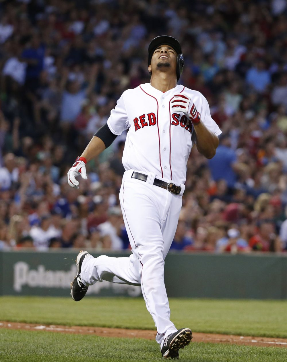 Boston Red Sox's Xander Bogaerts reacts after his deep fly was caught in the fourth inning of a baseball game against the Chicago Cubs at Fenway Park in Boston on Tuesday. (Elise Amendola/AP)