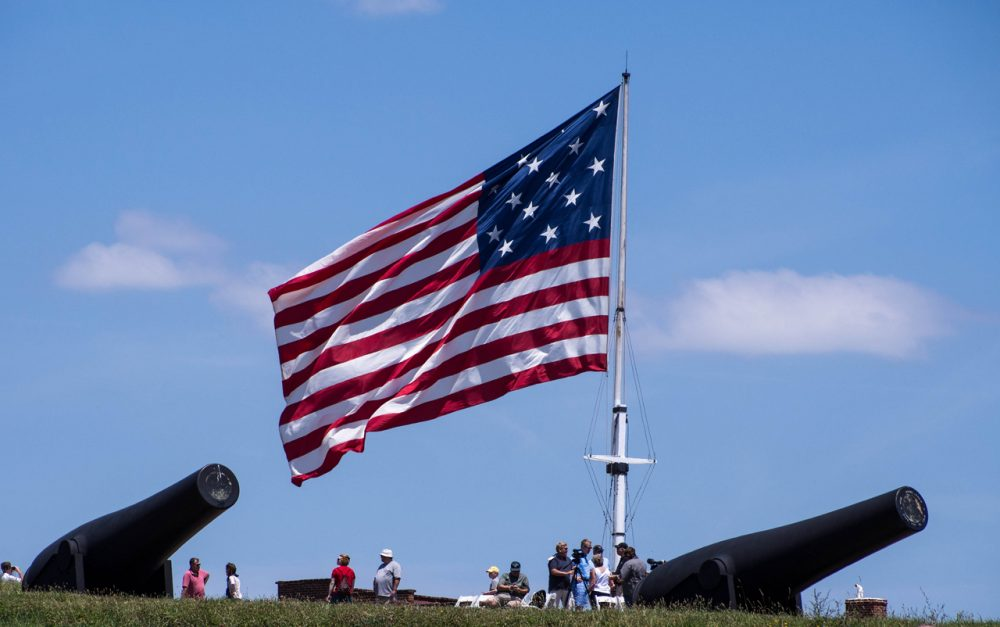 "An American flag with 15 stars still flies over Fort McHenry in Baltimore, the site of the Battle of Baltimore during the War of 1812. Francis Scott Key was inspired to pen ""Star Spangled Banner"" after witnessing the battle. (Danny_Eugene/Flickr)"