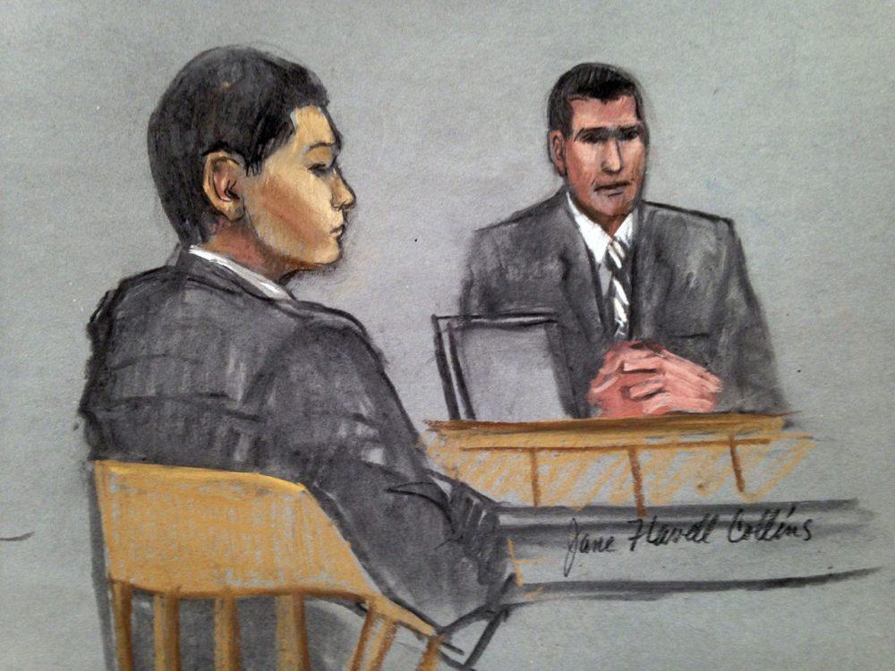 In this courtroom sketch, defendant Azamat Tazhayakov, left, a college friend of Boston Marathon bombing suspect Dzhokhar Tsarnaev, listens to testimony by FBI Special Agent Phil Christiana, right. (Jane Flavell Collins/AP)