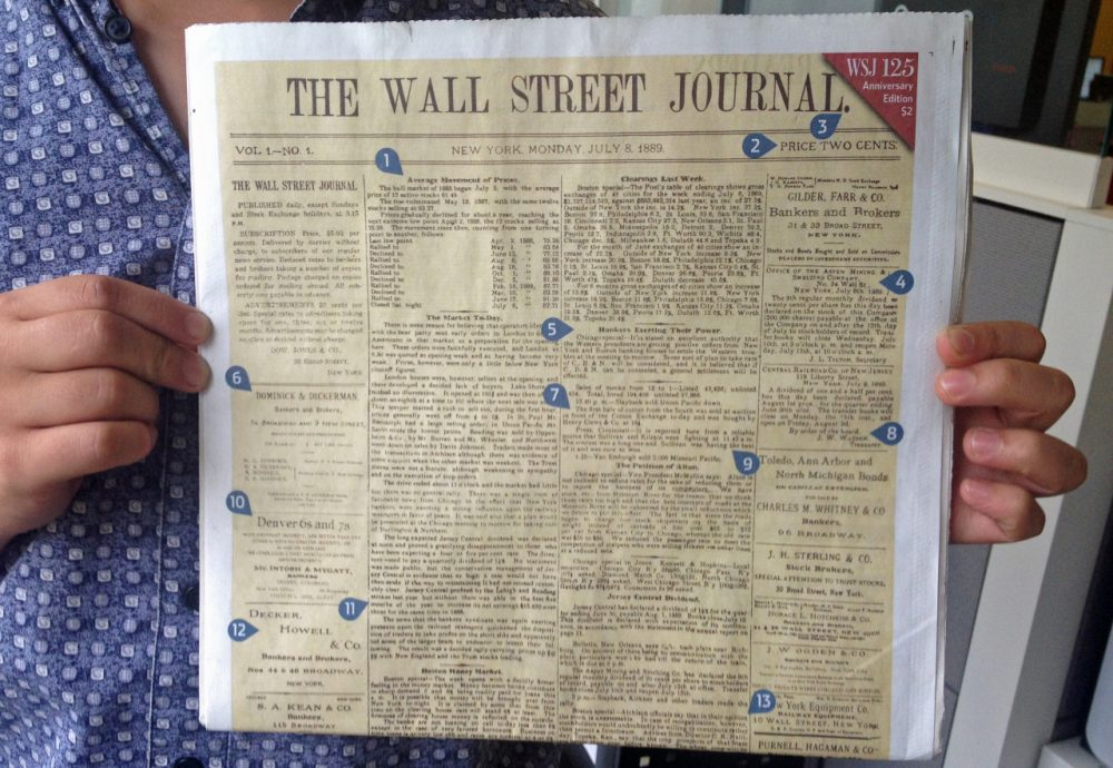 In celebration of its 125th anniversary, The Wall Street Journal reprinted the front page of its first edition, from July 8, 1889. (Here & Now)