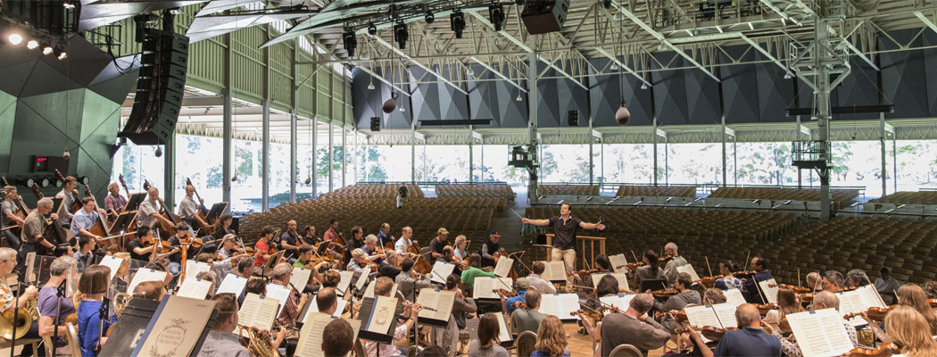 Andris Nelsons directs a Boston Symphony Orchestra rehearsal at Tanglewood this week. (Courtesy Marco Borggreve/BSO)