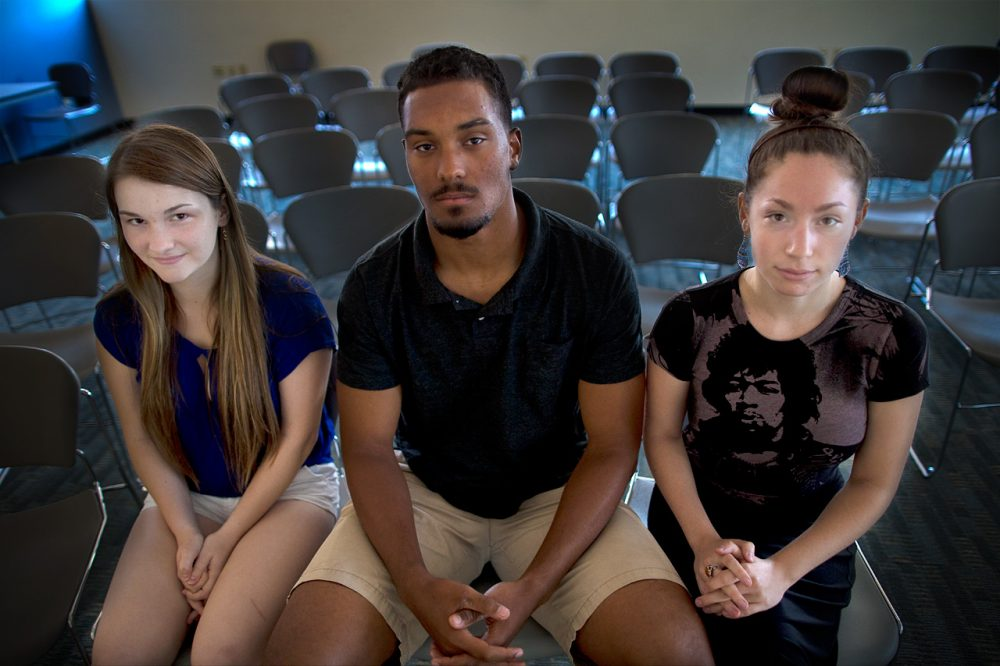 From left to right, MIT's Alex Burgess, Harvard's Langston Ward and UMass Amherst's Alex Conrad. (Jesse Costa/WBUR)