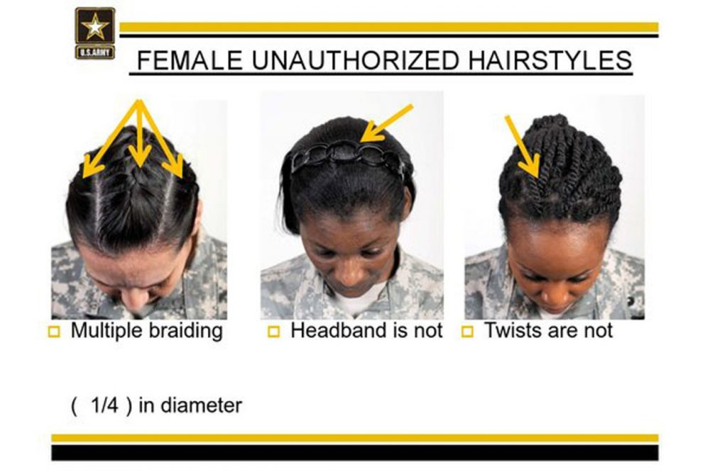 Image provided by the U.S. Army shows new Army grooming regulations for females. (US Army/AP)