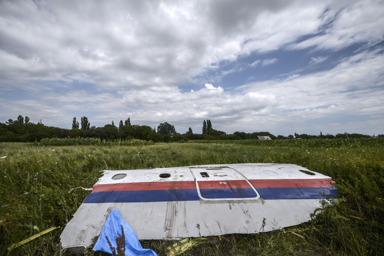 A piece of the wreckage of the Malaysia Airlines flight MH17 is pictured in a field near the village of Grabove, in the region of Donetsk on July 20, 2014. (Bulent Kilic/AFP/Getty Images)