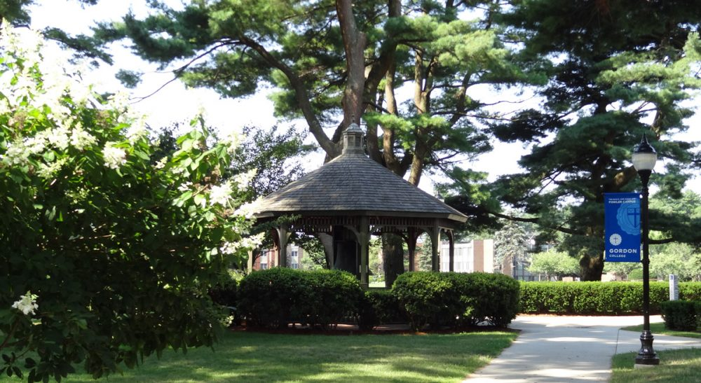 """Jonathan D. Fitzgerald: """"Will this hit to the college's reputation be a red flag to future employers who do not want to hire religious ideologues?"""" Pictured: The Clarendon Street Baptist Church Bell Pavilion, Gordon College, Wenham, Mass. (ethomsen/Flickr)"""