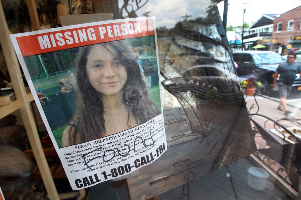A missing persons sign for Abigail Hernandez hangs in Conway, N.H., shortly after she returned home. (Jim Cole/AP)